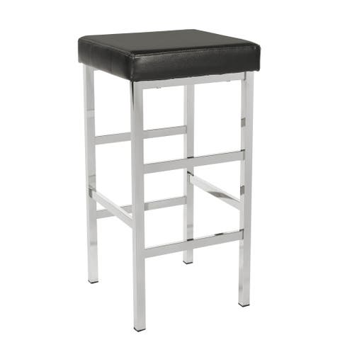 Porch & Den Mulloy Chrome 30-inch Backless Stool