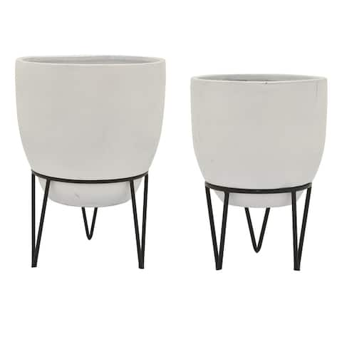 Planter Set of 2 On Metal Stand in White Resin 16inL x 16inW x 29inH