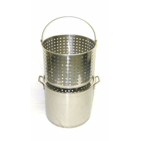 42Qt Stainless Steel Stock Pot with Steamer Basket