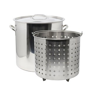 Link to 53Qt Stainless Steel Stock Pot with Steamer Basket Similar Items in Cookware