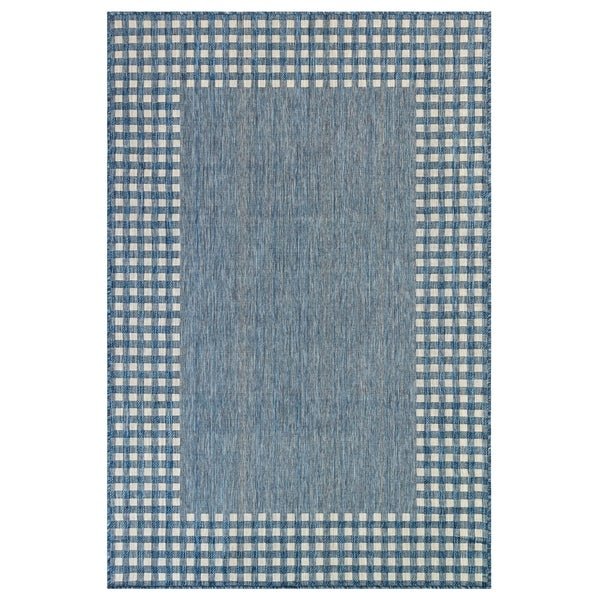"Liora Manne Carmel Gingham Border Indoor/Outdoor Rug Navy 7'10""X9'10"""