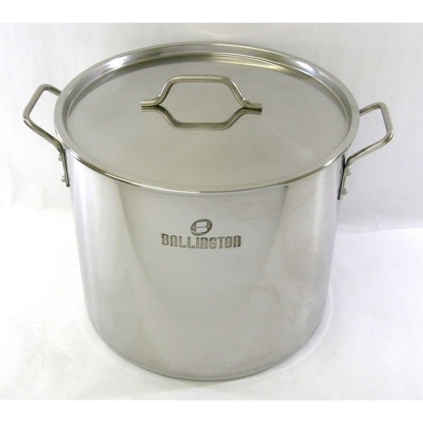52QT Stainless Steel Stock Pot with Steamer Rack. Opens flyout.