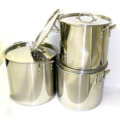 32 40 52 QT Stainless Steel Stock Pot Set with Steamer Racks