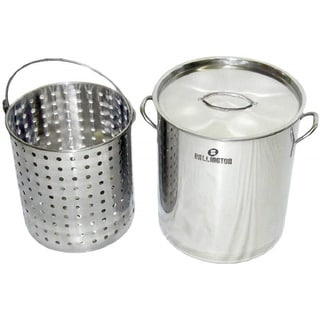 36Qt Stainless Steel Stock Pot with Steamer Basket