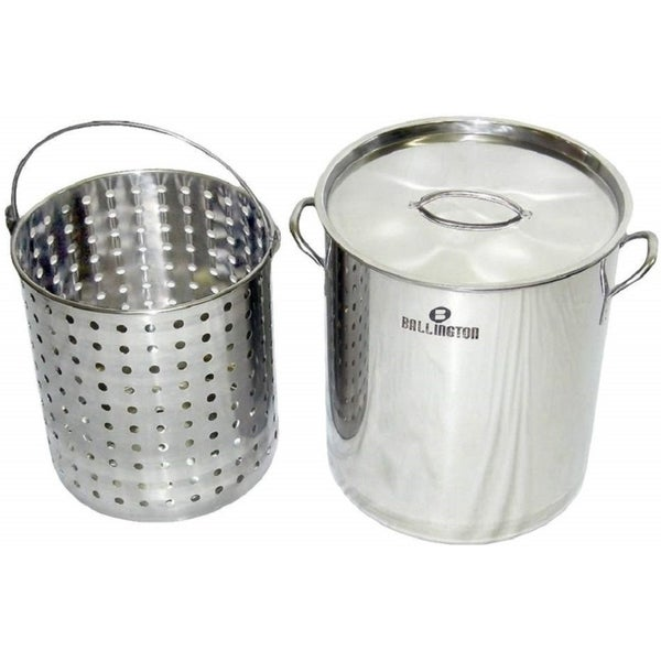 36Qt Stainless Steel Stock Pot with Steamer Basket. Opens flyout.