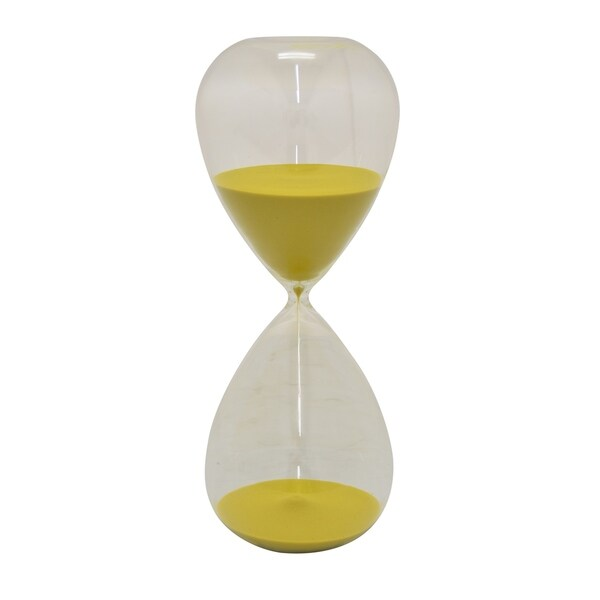 Glass Sand Timer - 90min in Yellow Glass 6in L x 6in W x 12in H