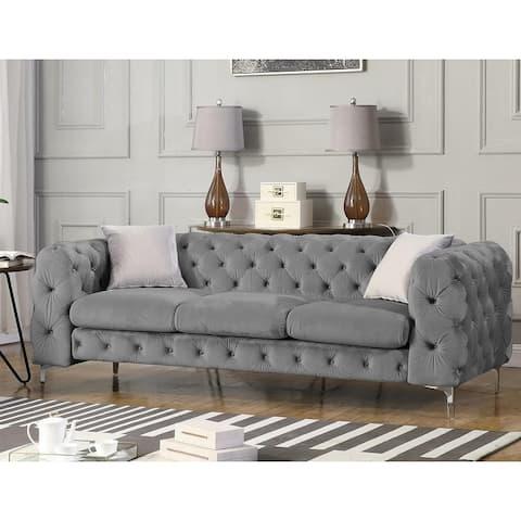 Best Master Furniture Velvet Upholstered Tufted Sofa