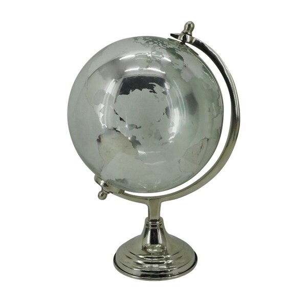 "Glass Globe W/metal Base 6"" in Silver Metal 6in L x 6in W x 11in H"