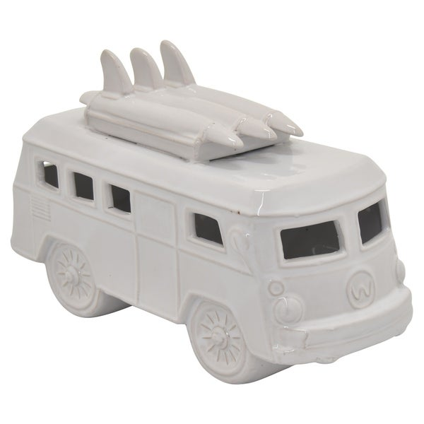 Ceramic Car Decoration in White Porcelain 12in L x 5in W x 8in H