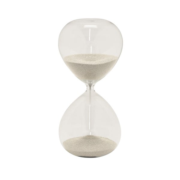 Sand Timer Electroplated 2min in Silver Glass 5in L x 5in W x 10in H