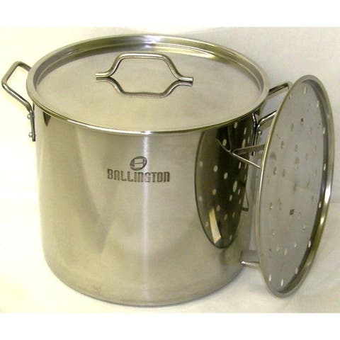 60QT Heavy Duty Stainless Steel Stock Pot with Steamer Rack