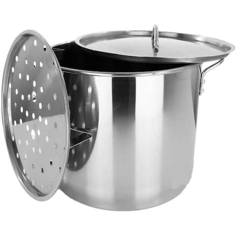 80QT Heavy Duty Stainless Steel Stock Pot with Steamer Rack