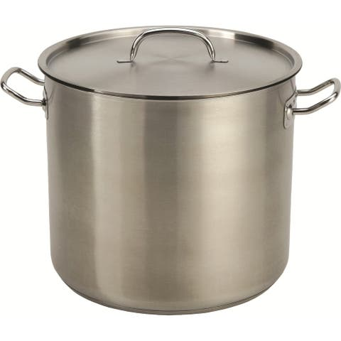 24QT Stainless Steel Heavy Stock Pot with Tri-Ply Base