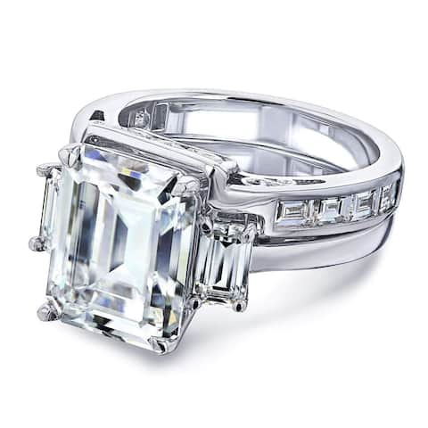 Annello by Kobelli 14k White Gold 6 Carats TGW 3-Stone Emerald Moissanite and Baguette Diamond Bridal Rings Set.