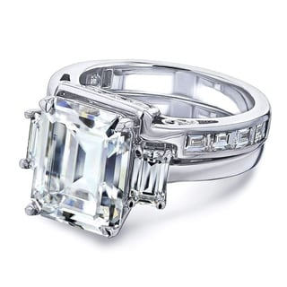 Link to Annello by Kobelli 14k White Gold 6 Carats TGW 3-Stone Emerald Moissanite and Baguette Diamond Bridal Rings Set. Similar Items in Rings