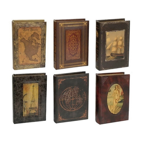 Wood Book Box 6 Assorted in Brown Faux Leather 10in L x 7in W x 2inH