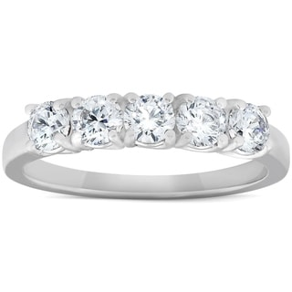 1 Ct Diamond Five Stone Tellis Wedding Ring 14k White Gold