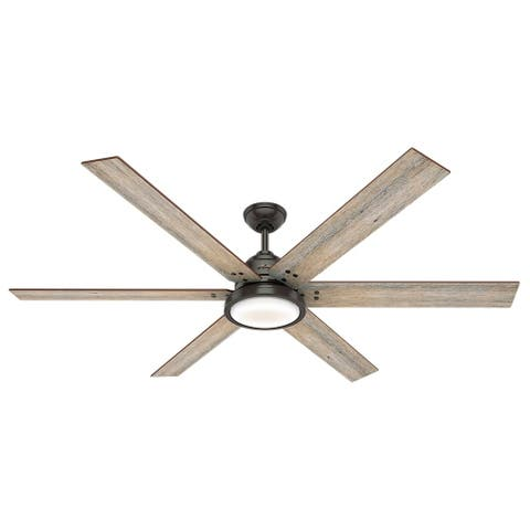 "Hunter 70"" Warrant Noble Bronze Ceiling Fan with LED Light Kit and Wall Control"