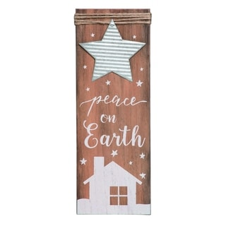 Transpac Wood White Christmas Sign with Rope and Metal Accent