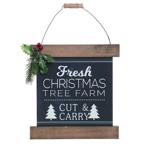 Transpac Wood Black Christmas Sleigh and Tree Wall Decor