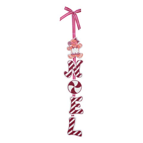 Transpac Wood Red Christmas Gingerbread Candy Stripe Hanging Decor