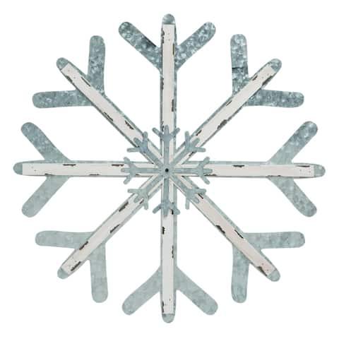 Transpac Metal Silver Christmas Snow Flake Wall Decor