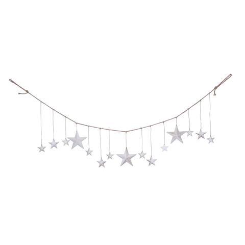 Transpac Metal Silver Christmas Rustic Star Banner