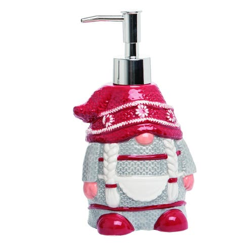 Transpac Dolomite Red Christmas Mrs Gnome Soap Dispenser