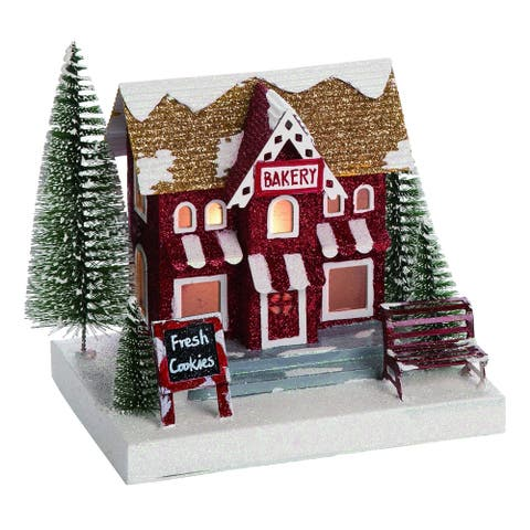 Transpac Paper Red Christmas Light Up Cafe and Bakery House