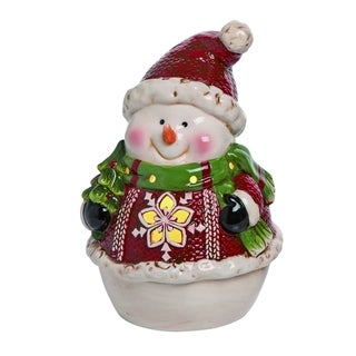 Transpac Dolomite Red Christmas Light Up Snowman