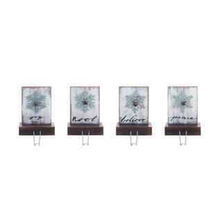 Transpac Wood White Christmas Snowflake Stocking Holder Set of 4