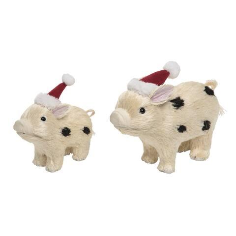 Transpac Foam pink Christmas Sisal Santa Hat Pig Set of 2