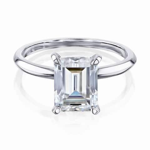 Annello by Kobelli 14k Gold 2.5 Carat Emerald Moissanite Solitaire Engagement Ring (HI/VS)