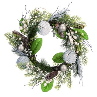 "Transpac Wood 22"" Green Christmas Wreath - N/A - N/A"