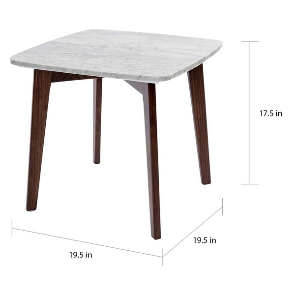 Carson Carrington Tangby 19.5-inch Square Marble Table with Walnut Legs