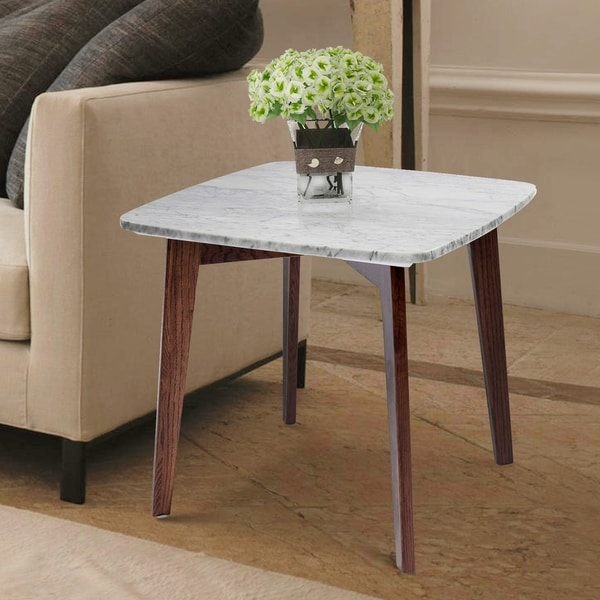 Carson Carrington Tangby 19.5-inch Square Marble Table with Walnut Legs. Opens flyout.