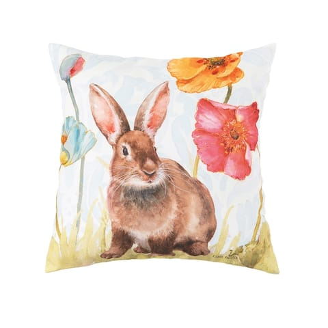 Sitting Spring Softies Bunny Indoor/Outdoor 18 x 18 Accent Decorative Accent Throw Pillow