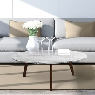 Carson Carrington Tangeberg 31-inch Round Marble Coffee Table with Walnut Legs