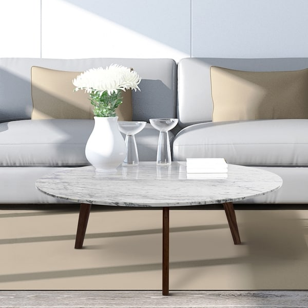 The Versatile Italian Carrara White Marble Coffee Table For Everyday Decoration. Opens flyout.