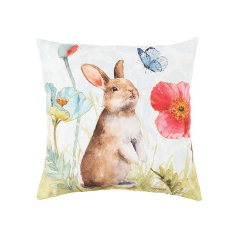 Bunny And Butterfly Spring Indoor/Outdoor 18 x 18 Accent Decorative Accent Throw Pillow