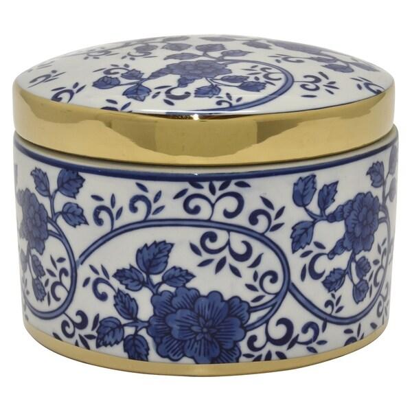 Ceramic B&w Box W/gold in Blue Porcelain 8in L x 7in W x 6in H