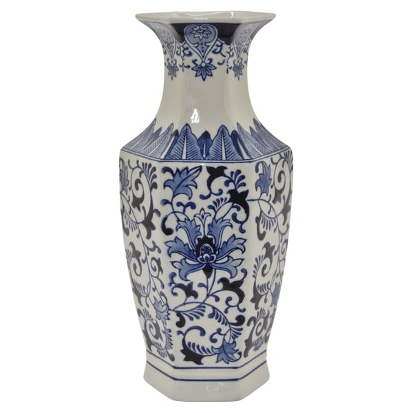 Three Hands Ceramic B&w Vase in Blue Porcelain 7in L x 7in W x 15in H