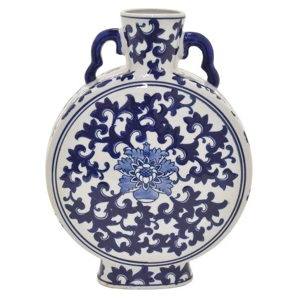 Ceramic B & W Vase in Blue Porcelain 9in L x 3in W x 13in H