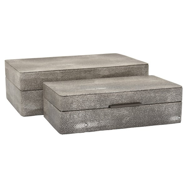 Three Hands Wood Box Set Of 2 in Gray Wood 12in L x 7in W x 4in H