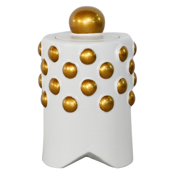 Ceramic Jar W/gold Accent in White Porcelain 6in L x 6in W x 9in H