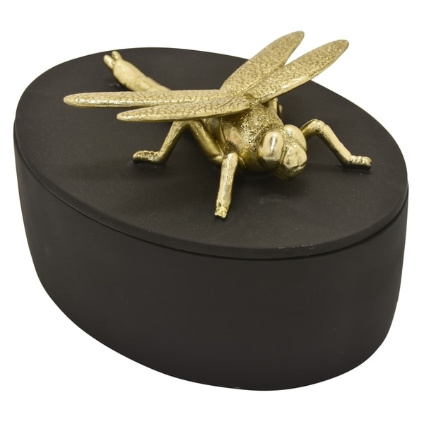 Three Hands Dragonfly Covered Box in Black Resin 9in L x 7in W x 5inH