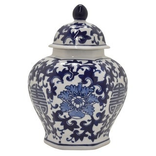 Three Hands Ceramic Jar in Blue Porcelain 7in L x 7in W x 10in H