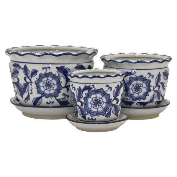 Ceramic B&w Planter Set of 3 in Blue Porcelain 8in L x 8in W x 5in H