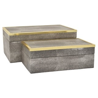 Three Hands Wood Box Set Of 2 in Gray Wood 11in L x 8in W x 4in H