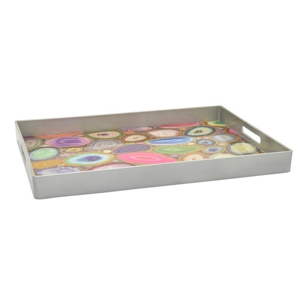 Tray in Multi-Colored Resin / Magnesium 19in L x 14in W x 2inH